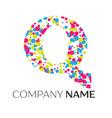 letter q logo with blue yellow red particles vector image