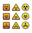 Set hazard warning radiation symbols vector image