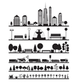 Silhouette City Park Forest Road Elements vector image