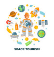 space tourism promotional poster with spaceman and vector image