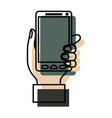 watercolor silhouette of hand holding smartphone vector image