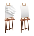 Wooden easel on a white background vector image