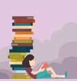 young girl reading book with pile of book lot vector image