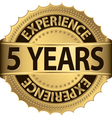 Grunge 5 years of experience golden label vector image vector image
