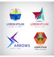 set of abstract 3d colorful logos arrows vector image