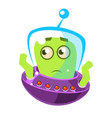 embarrassed green alien cute cartoon monster vector image
