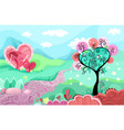 heart landscape vector image vector image
