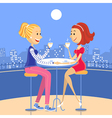 Two lesbian lovers in a cafe vector image vector image