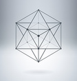 Polygon with connected lines and dots Abstract vector image vector image