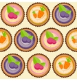 Sweet Cakes with Berry and Carrot Seamless Pattern vector image vector image
