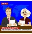TV news anchors reporting breaking news vector image