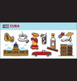 cuba travel destination promotional poster with vector image