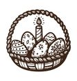 Easter basket with candle and eggs vector image