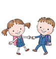 Girl and boy shcool vector image