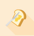 knife spreading butter or margarine on toast bread vector image