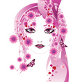 Pink floral girl vector image