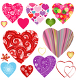 Set colorful valentine hearts vector image
