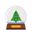 snow globe christmas glass ball background winter vector image
