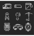 White line icons for mountaineering outfit vector image