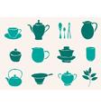 set of tea accessories vector image vector image