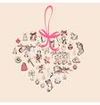 Vintage Christmas Heart Card vector image vector image