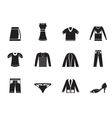 Silhouette Clothing Icons vector image