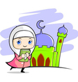 moslem girl with mosque background vector image