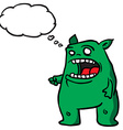 green monster 1 with thought bubble vector image