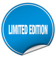 limited edition round blue sticker isolated on vector image