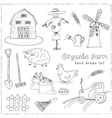 Organic farm hand drawn decorative icons set vector image