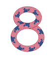 Number 8 made of USA flags on white background vector image
