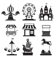 Amusement Park Objects Icons Mono Set vector image