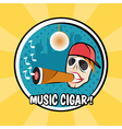 pop art poster with dj and cigar with vinyl vector image