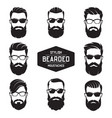 set of various bearded men faces vector image