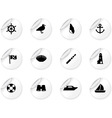 Stickers with seaside icons vector image