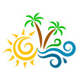 sun waves and palm trees silhouette vector image