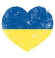 Ukraine retro heart flag - vector image
