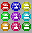 Wi fi router icon sign symbol on nine round vector image