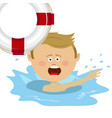 little boy struggling for a life buoy in water vector image