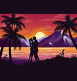 kissing couple silhouette vector image vector image
