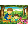 A father and a son at the forest watering the vector image vector image