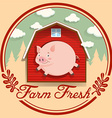 Pig and red barn on logo vector image vector image