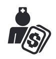 medical cost icon vector image vector image