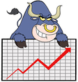 Blue Bull With Business Graph vector image