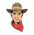 cowboy man cartoon character modern western vector image