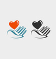hand holding red heart icon or symbol love vector image