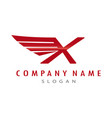 logo letter x wing vector image
