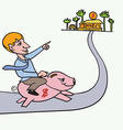 Man riding piggybank heading to his goal vector image