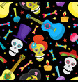 seamless pattern with colorful skulls for day of vector image