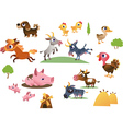 set of cartoon farm animals vector image vector image